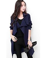 Women's Casual Long Sleeve Cotton Blends Solid Trench Coat