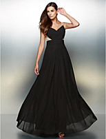 Formeller Abend Kleid - Schwarz Chiffon - A-Linie - bodenlang - V-Ausschnitt