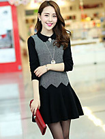 Women's Patchwork Black / Gray Dress , Sexy / Casual Long Sleeve