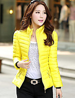 Women's Solid Multi-color Parka Coat , Bodycon Stand Long Sleeve