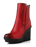 Women's Shoes Wedge Heel Wedges / Fashion Boots / Round Toe Boots Dress / Casual Black / Red