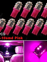 10X Pink T10 Wedge Side 10-SMD LED Interior Light W5W 158 192 168 194 921 2825