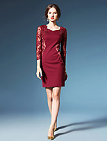 Sheath/Column Mother of the Bride Dress - Burgundy / Dark Navy Short/Mini 3/4 Length Sleeve Lace / Polyester