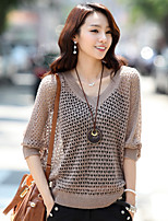 Women's Solid White / Black / Beige Pullover , Casual Short Sleeve