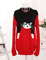Women's Character Red Pullover , Casual Long Sleeve
