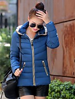 Women's Striped Blue / Red / Black / Green Parka Coat , Casual Stand / Hooded Long Sleeve