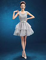 Cocktail Party Dress - Silver A-line Scoop Knee-length Organza