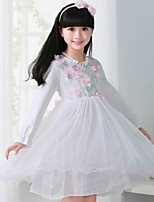 Girl's White Dress , Floral Cotton Blend / Mesh Fall