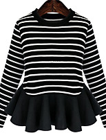 Women's Striped / Patchwork Gray Pullover , Casual Long Sleeve