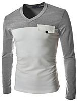 Herren Freizeit T-Shirt  -  Einfarbig Lang Elasthan