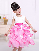Girl's Blue / Pink / Purple / Red / White Dress , Ruffle Cotton Blend Summer / Spring / Fall