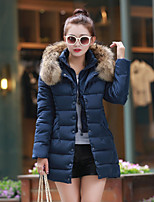 Women's Solid Blue / Red / Black / Green / Gray Parka Coat , Casual Hooded Long Sleeve