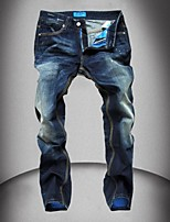 Mens Fashion Design Jeans Hot Style AStraight Printed Jeans Pants