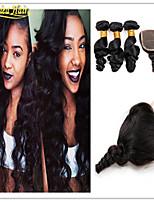 4 PC / porción 8a virgen suelta la onda brasileña con el pelo humano del pelo virginal brasileño cierre barato con cierre