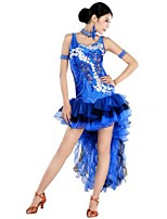 Latin Dance Dresses Women's Performance Spandex / Polyester Appliques / Embroidery 1 Piece Fuchsia / Royal Blue