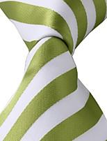 Green White Stripes Men Jacquard Leisure Silk Tie Necktie