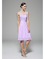 Knee-length Chiffon / Lace Bridesmaid Dress - Lavender A-line High Neck
