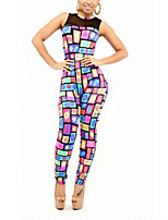 Women's Print Multi-color Jumpsuits , Sexy / Bodycon Round Neck Sleeveless