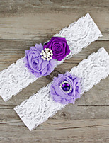 2pcs/set Lavender And Deep Purple Satin Lace Chiffon Beading Wedding Garter