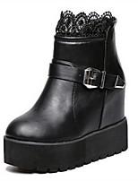 Calçados Femininos - Botas - Botas da Moda - Plataforma - Preto - Courino - Casual