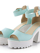 Women's Shoes Leatherette Chunky Heel Ankle Strap / Styles Sandals Outdoor / Casual Black / Blue / White