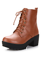Women's Shoes Leatherette Chunky Heel Heels / Round Toe Boots Outdoor / Office & Career / CasualBlack / Brown / Yellow /