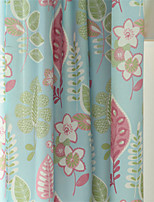 Two Panels  Floral Print Curtain