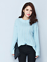 Women's Solid Blue / White Pullover , Casual Long Sleeve