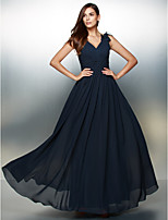 Formal Evening Dress - Dark Navy A-line V-neck Floor-length Chiffon