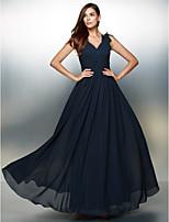 Vestido - Azul Marinho Escuro Festa Formal Linha-A Decote em V Longo Chiffon