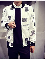 Men's Long Sleeve Jacket , Cotton Casual Print