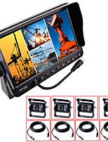 renepai® 7 pulgadas 4 in1 hd cámara de visión posterior del coche del monitor + bus HD cámara resistente al agua la longitud del cable de
