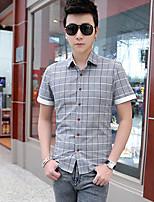 Men's Short Sleeve Shirt , Nylon Casual Plaids & Checks