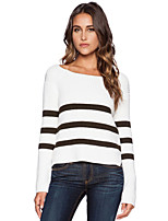 Women's Striped White Pullover , Sexy / Casual Long Sleeve