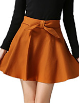 Autumn Winter Wild Solid Color Women's Casual Red / Black / Yellow / Gray Mini Skirt Culottes