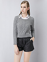 Women's Solid Gray Cardigan , Sexy / Casual Long Sleeve