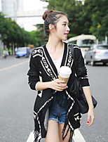 Women's Floral White / Black Cardigan , Casual / Print ¾ Sleeve