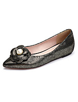 Women's Shoes Leather Flat Heel Comfort / Pointed Toe Flats Outdoor / Office & Career / Dress / Casual Black / Silver