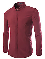 Men's Long Sleeve Shirt , Cotton Casual / Work / Formal / Plus Sizes Pure