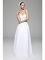 A-line Wedding Dress - White Floor-length Sweetheart Lace