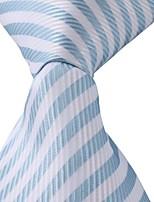 Classic Striped Blue White Jacquard Woven Silk Men Necktie