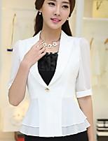 Women's Solid Blue / White / Black Blazer , Work / Plus Sizes Notch Lapel ½ Length Sleeve