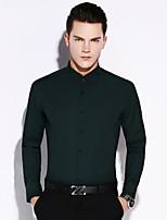 Men's Long Sleeve Shirt , Cotton / Wool Casual / Work / Formal Striped
