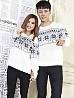 Women's Geometric White Pullover , Casual Long Sleeve