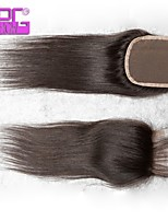 Straight Hairstyle Free Part/Middle Part/Three Part Natural Black 4*4 Human Hair Lace Closure