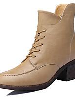 Calçados Femininos - Botas - Coturno / Botas de Motocicleta - Salto Grosso - Preto / Bege - Sintético -Escritório & Trabalho / Social /