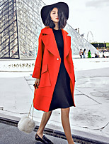 Women's Solid Blue / Red Coat , Casual Long Sleeve Others / Suede