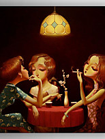 Oil Painting Three Women Talking People Painting Hand Painted Canvas with Stretched Framed