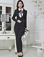 Women's Solid Black / Gray Blazer , Work / Plus Sizes Deep U Long Sleeve