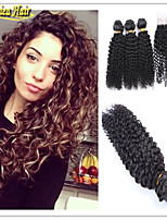 4 Pcs/Lot Cheap Brazilian Human Hair Weave With Closure Brazilian Kinky Curly With Closure Hair Bundle With Closure